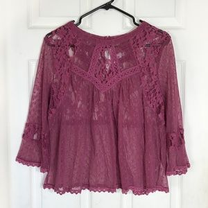 Free People Lace Top Blouse  Burgundy Large NWT
